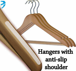 Image Is Loading Wooden Hangers With Bar Amp Side Grips Non