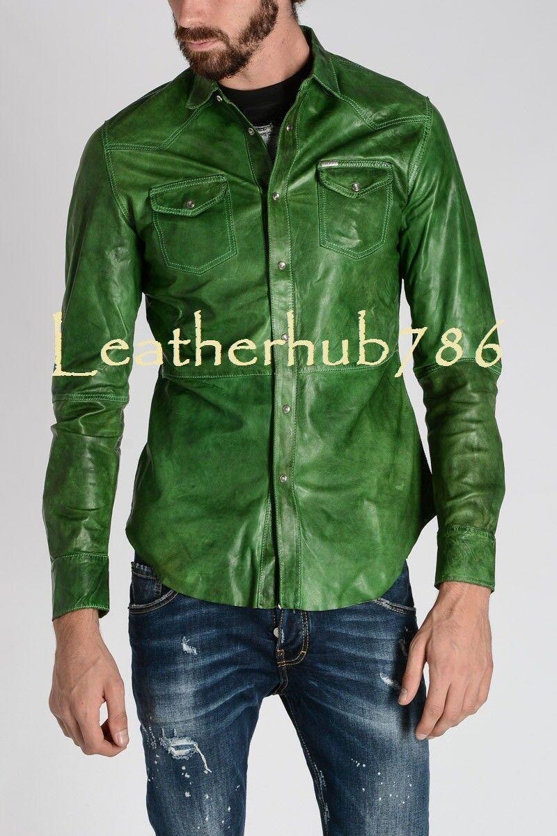 Shirt Brand New Men Handmade Green 100% Pure Genuine Lambskin Leather Party 444
