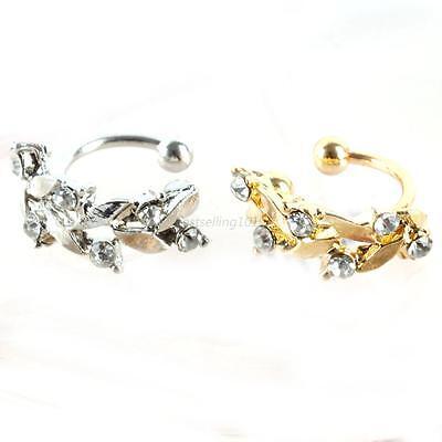 Women Ear Hook Plated Crystal Rhinestone Stud Ear Clip Leaves Cuff Earrings  B76