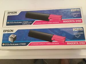2-Genuine-Epson-Aculaser-C1100-CX11-Toner-Cartridges-Magenta-NEW-OEM-Save