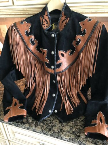 Work Fringe jacket Black brown Sz 12 Leathers Mint Bead Western cowgirl Diamond qIYwFxBSn