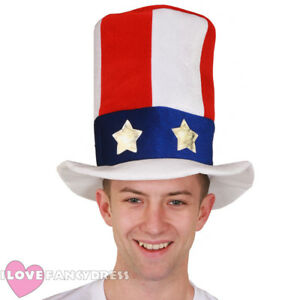 c2abc7a3cf8 UNCLE SAM TOP HAT USA 4TH JULY FANCY DRESS PARTY AMERICAN ...