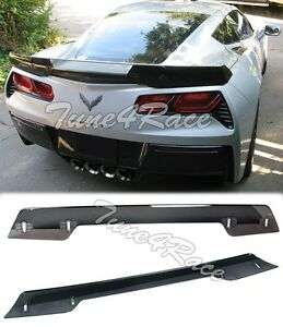 For 14-Up Corvette C7 Z06 Z07 Rear Spoiler Wickerbill dark Tint Stage 3 Upgrade