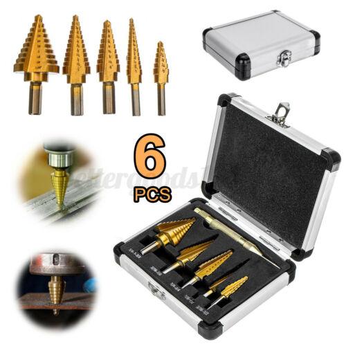 6Pcs Steel Step Drill Bit Set HSS Titanium Cone Multiple Hole 50 Sizes with Case