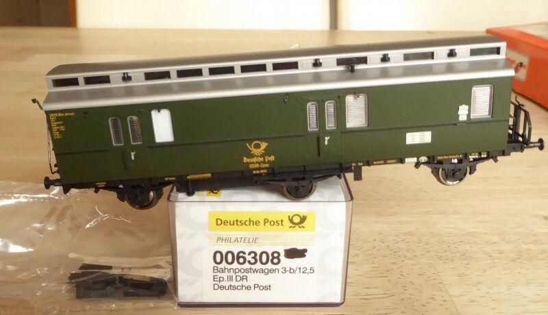 Electric train 006308 h0 Car poste Rail 3-b 12,5 ep3 DR DEUTSCHE Neuwertig