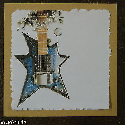 handcrafted christmas card HUTTL STAR  electric guitar
