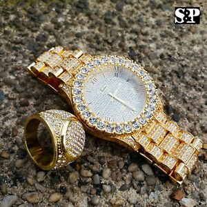 MENS-HIP-HOP-ICED-OUT-GOLD-PT-LAB-DIAMOND-MIGOS-WATCH-amp-FULL-ICED-RING-COMBO-SET