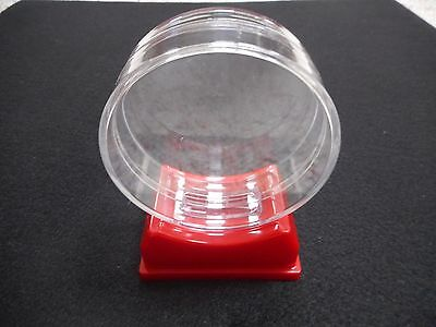 12 Ct. Canadian Made Puck Display Case With Red Base For Regulation Hockey Pucks