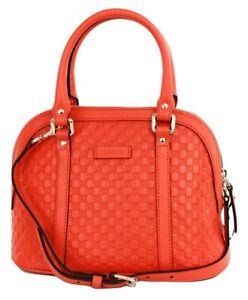 Gucci-GG-Micro-Guccissima-Leder-Umhaengetasche-kleine-Handtasche-Orange-RRP-840
