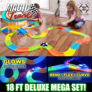 MAGIC-TRACKS-360PCS-Glow-in-the-Dark-5LED-LIGHT-UP-RACE-Cars-Bend-Flex-Toys-Auto