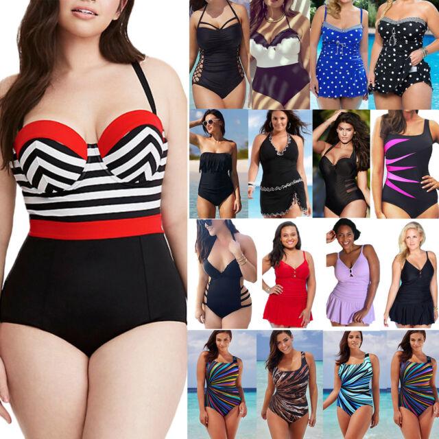 Plus Size Women's Vintage Monokini One Piece Swimwear Bathing Suit Swim Dress US