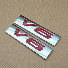 2pcs Metal V6 Engine Silver Amp Red Logo Emblem Trunk Sport Badge 3d Sticker Decal Fits Jaguar