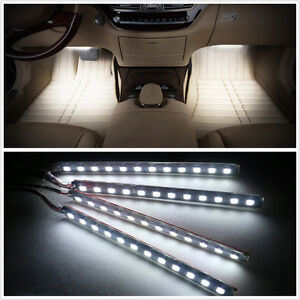 White 12 led car interior 12v charge footwell decorative atmosphere lights lamp 4683812993850 ebay for Led car interior lights ebay