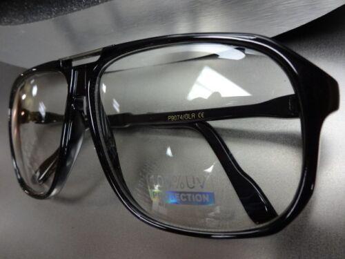 OVERSIZED VINTAGE RETRO Style CLUB Day Night Clear Lens EYE GLASSES Black Frame