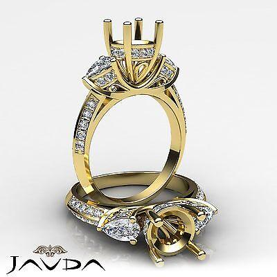 3 Stone Pear Round Diamond Wedding Antique Ring Semi Mount 14k Yellow Gold 1.21C