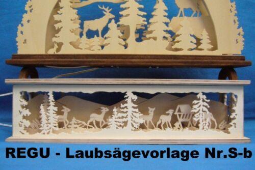 REGU - Laubsägevorlage Sb-b SOCKELBANK Tiere auf Waldlichtung  für Schwibbögen