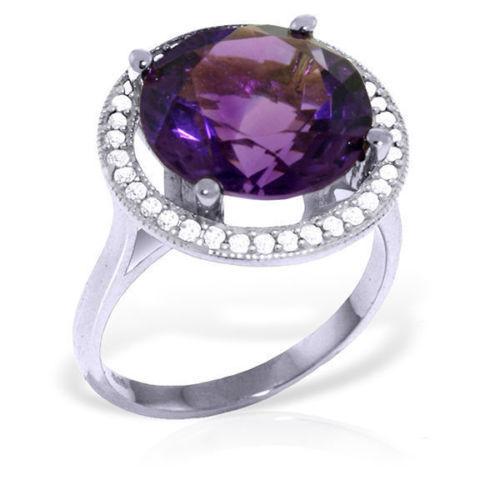 Genuine Purple Amethyst Round Gemstone Diamonds Halo Design Ring 14K. Solid gold