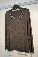 Gibson Latimer $69 Beautiful Blouse Dark Gray With Silver Sparkle Size Large