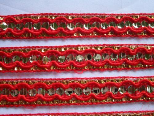 2 METER  Nichtelastisch Borte Gold Rot Elegante 1.2cm Breit # BB 673 N