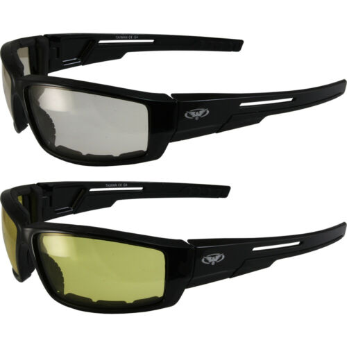 2 Sly Padded Motorcycle Riding Glasses Clear and Yellow Lenses by Global Vision