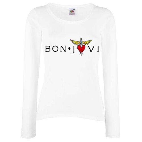 BON JOVI 4 ROCK FUN TEE WHITE LONGSLEEVE//SHORTSLEEVE DAMEN//WOMEN T-SHIRT