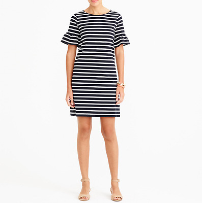 Women/'s XXS NWT Black//Ivory Striped Ruffle Tee Dress J.Crew Factory