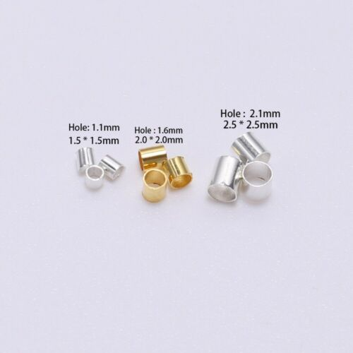 500pcs 1.5-2.5mm Alloy Tube End Crimp Beads Spacers For DIY Jewelry Making