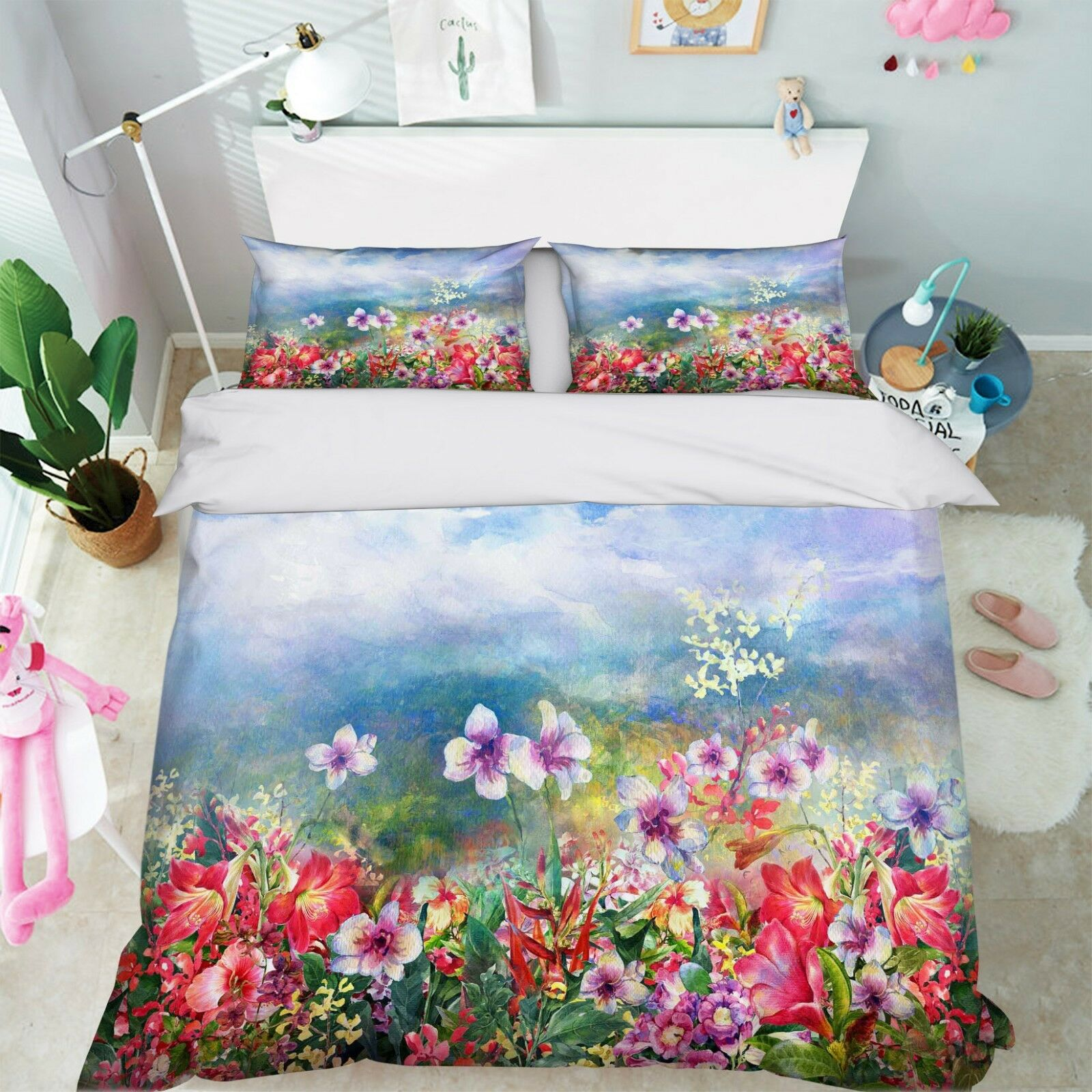 3D Flower Painting 5 Bed Pillowcases Quilt Duvet Cover Set Single Queen King AU