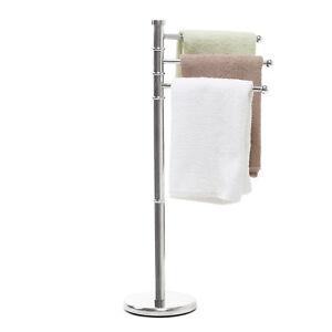 Piantana porta asciugamani arredo bagno 3 bracci acciaio cromato cm 90 altezza ebay - Porta asciugamani bagno ...