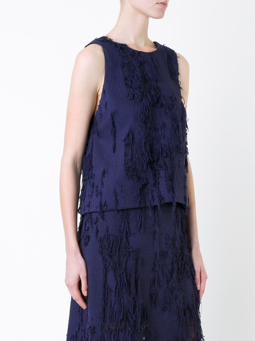 Ginger & and Smart Overshadow Fringed Top Navy Blau Größe 12 NWT