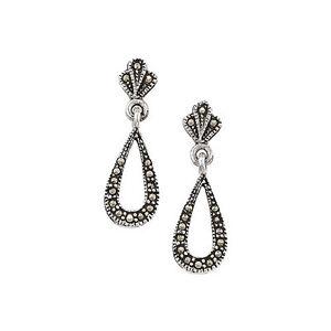6b6d67b70 Image is loading Sterling-Silver-Marcasite-Drop-Earrings