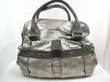 SEE BY CHLOE Pewter Leather Metallic Handbag Purse Satchel