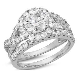 2-5ct-Round-Cut-Halo-Bridal-Engagement-Wedding-Ring-Band-Set-14k-White-Gold