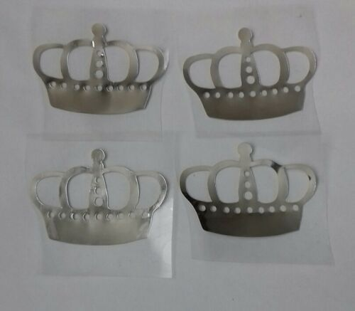 Hotfix iron on transfers 4 silver mirror crowns with 4 hearts size 5cm x 3.5cm