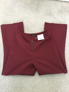 Size Bnwt Maroon Us Topshop Pants Flare Red Crop 4 YxYIZwr