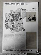 ORIGINAL PROSPEKT DDR 1972 DIESELMOTOR CUNEWALDE 2 NVD 14,5  SRL 19 PS