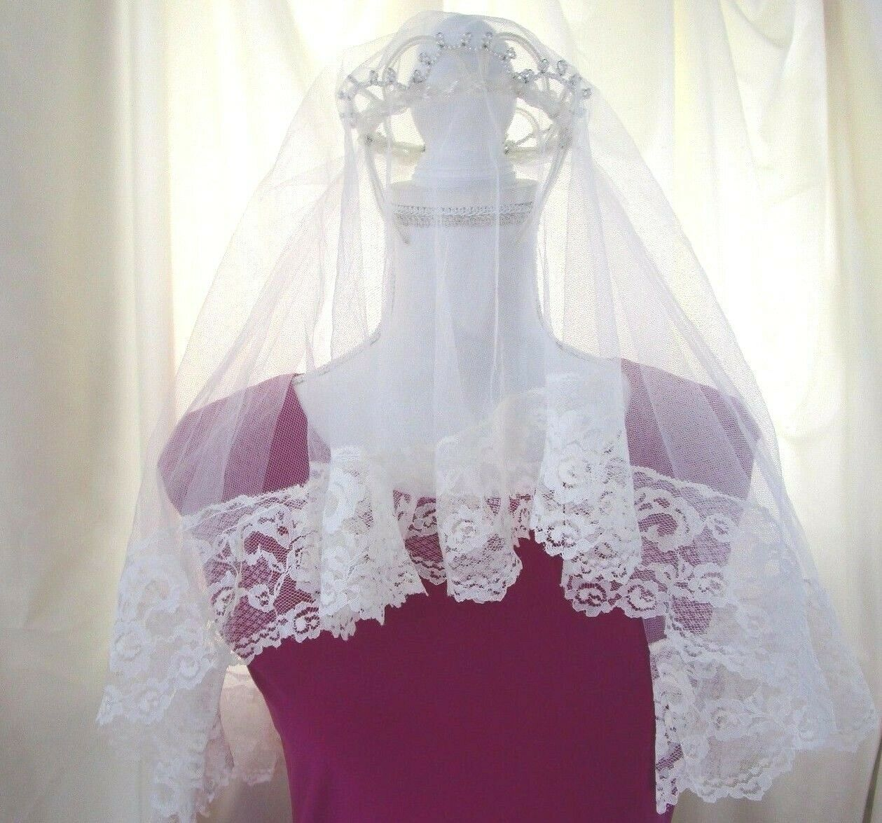 Vintage First Communion Headpiece with Tulle Pearl Design Flower Girl
