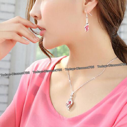 Ofertas de viernes negro rosa de cristal collar y pendientes raro Amor regalos para su esposa