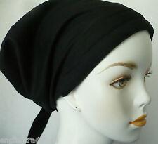 Alopecia Cancer Chemo Hat Hair Loss Black Scarf Cotton Turban Head Wrap Cap