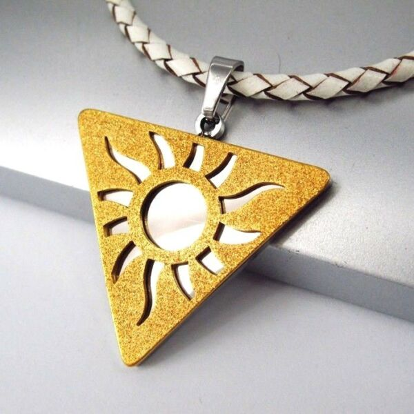 100% Vero Silver Oro Piramide Triangolo Sole Ciondolo Bianco Collana Girocollo In Pelle Intrecciata Texture Chiara