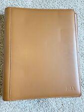 Levenger Saddle Tan Portfolio Disc Notebook Cover Full Size Monogrammed Nja