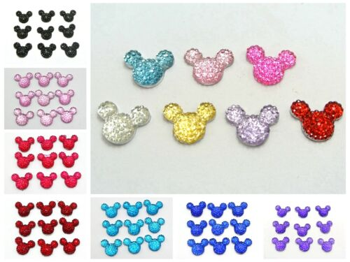 50 Flatback Resin Dotted Rhinestone Gems Mouse Face 14X12mm Color for Choice