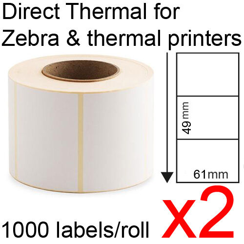 x2 Direct thermal labels rolls 61x49mm 1000/roll for Zebra & thermal printer