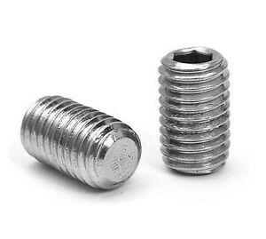 M3 M4 M5 M6 M8 M10 Set Grub Screws Flat Point Allen Socket Stainless Steel