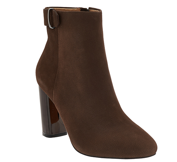 G.I.L.I. Leather Block Heel Ankle Boots Women's Kallie Chocco Brown Size 5.5 New