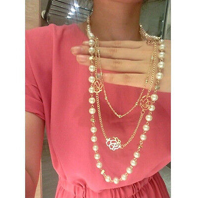 Fashion Multilayer Chains Gold Rose White Pearl Flower Sweater Necklace
