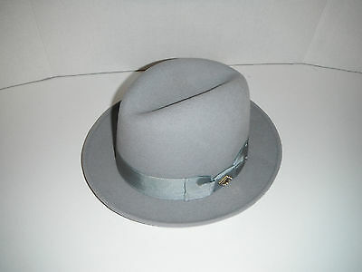 NEW STACY ADAMS cashmere blend FEDORA HAT color LIGHT GREY large