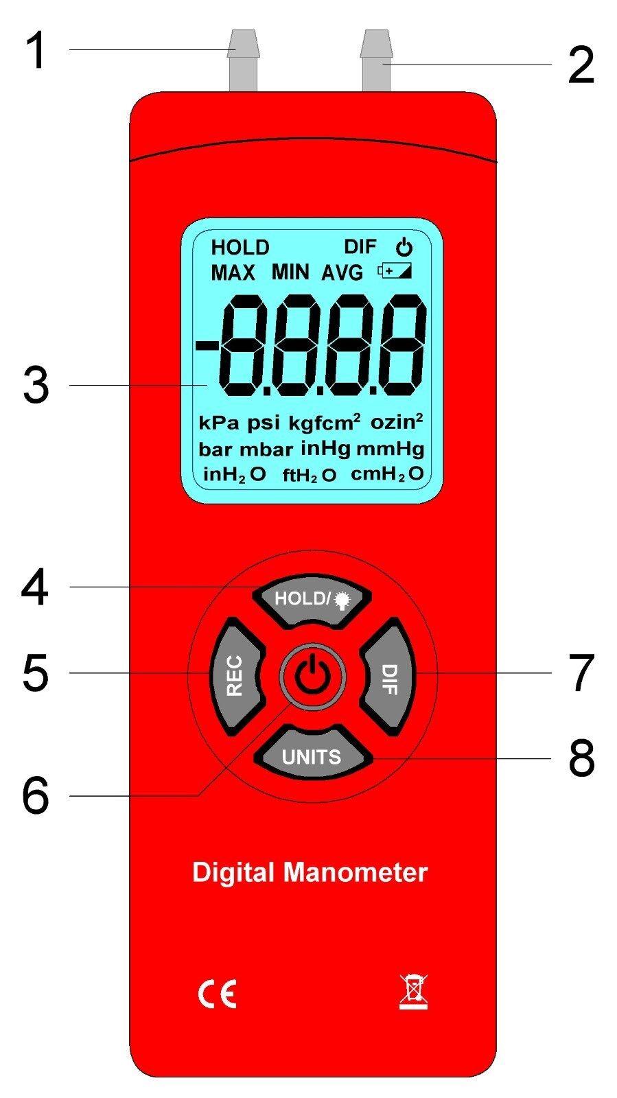 Roter Digitaler Atemreglertester zur Messung Prüfung von Ein- und Ausatmung NEU