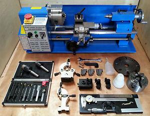 CJ18A-Mini-drehmaschine-Blau-Packung-3-7x14-Maschine-mit-DRO-amp-4-034-Chuck