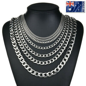 2-13mm-Men-039-s-316L-Stainless-Steel-Silver-Curb-Link-NK-Necklace-Chain-Wholesale